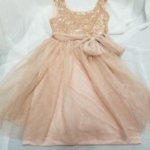 Zunie Girls Light Cream Peach Formal Dress SZ 7
